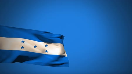 five stars : Digital animation of a Honduras flag waving against a blue background