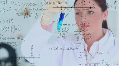 laboratuvar önlüğü : Digital composite of a female Caucasian scientist studying a liquid in a test tube and a foreground filled with equations and graphs