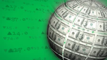 us banknotes : Digital animation of a rotating globe made out of money on a screen filled with stock market numbers Stock Footage