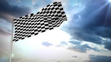 começando : Digital animation of a racing flag waving against a sky background Vídeos