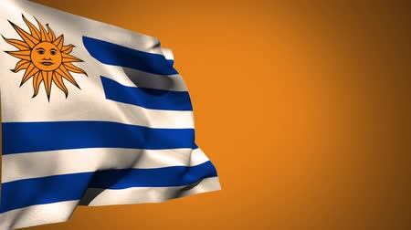 montevideo : Digital animation of an Uruguay flag waving against a yellow background Stock Footage