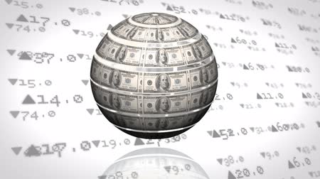 us banknotes : Digital animation of a rotating globe mad out of money with a background filled with stock market numbers