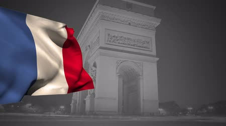 üç renkli : Digital animation of a french flag waving against the Arc de Triomphe