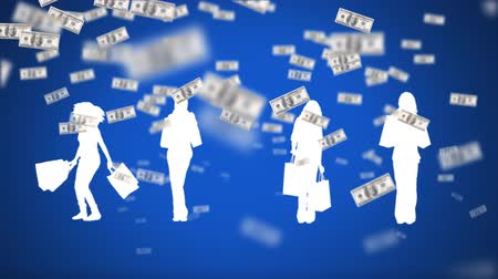 us banknotes : Digital animation of white silhouettes of ladies holding shopping bags with a background filled with flying money