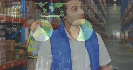 crate : Digital composite of Caucasian male worker wearing headset while holding clipboard and checking inventory and colleague works behind him. Statistical data move in the foreground. 4k