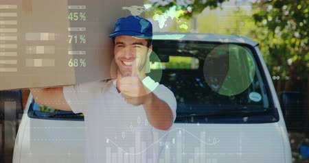 engradado : Close up of a Caucasian worker passing in front of a delivery van while carrying a package on his shoulder. The worker then pauses and smiles at the camera giving a thumbs up signal. Digital animation of graphs and statistics are seen in the foreground 4k