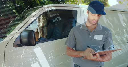 paket : Front view of a deliveryman beside a van writing on a clipboard smiles and signals a thumbs up. Digital animation of graphs and statistics are seen running in the foreground 4k
