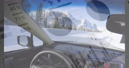 trhy : Animation of sitting inside a car while driving through a snowy road. Digital animation graphs and statistics are seen running in the foreground 4k