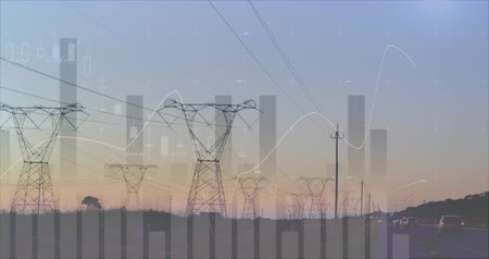 межгосударственный : Graphs and statistics running on a background of transmission towers near a highway 4k