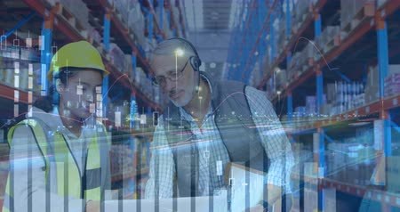 engradado : Close up of a Caucasian male warehouse manager giving directions to his female African-american worker. Digital animation of graphs and statistics are running in the foreground 4k