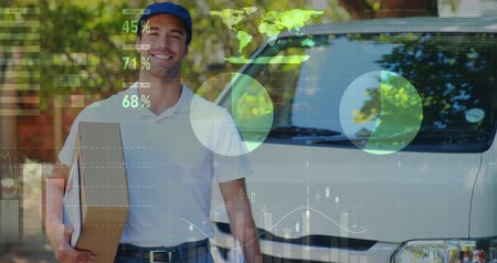 balík : Front view of a deliveryman carrying a package moving forward while smiling. Digital animation of graphs and statistics are running in the foreground 4k