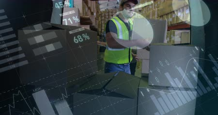 engradado : Front view of a Caucasian warehouse worker loading packages in to a van. Another man is seen in the background passing him the packages. Digital animation of graphs and statistics are running in the foreground 4k
