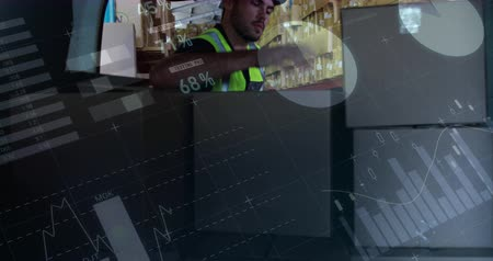 engradado : Front view of a warehouse worker loading packages in the back of a delivery van. Behind him is a manager passing him the packages. Digital animation of graphs and statistics are running in the foreground 4k