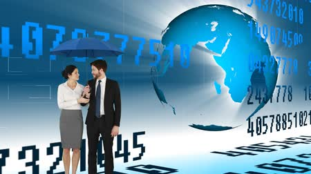 身なり : Digital animation of a couple wearing business clothes holding up an umbrella. Digital animation of a rotating globe and floating numbers are seen in the background