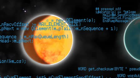 Венера : Digital animation of a close up of each planet in the solar system. Program codes are seen running in the foreground Стоковые видеозаписи