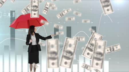 выигрыш : Digital animation of a businesswoman holding up an umbrella while it rains dollar bills. The woman points to graphs and statistics running in the foreground