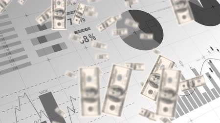 us banknotes : Digital animation of dollar bills falling with graphs and statistics running in the background