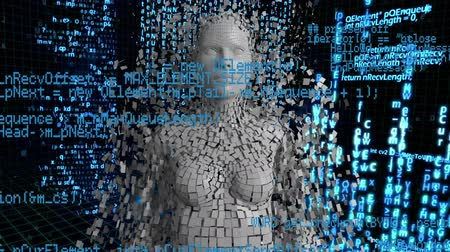 shattering : Digital animation of a woman shattering in a blue background with moving interface codes