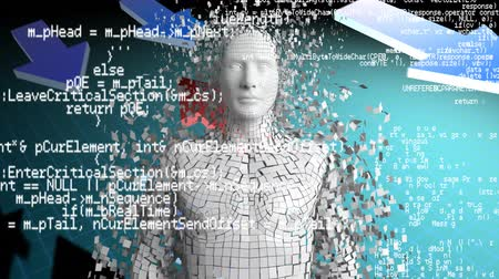 indicar : Front view of a digital animation of a man with shattering skin on a background of grid lines and arrows. Digital animation of program codes are running in the foreground