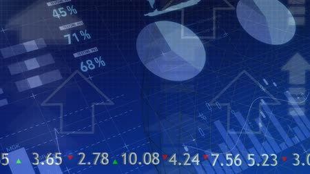 indicar : Digital composite of graphs and statistics with arrow and stock market numbers Stock Footage