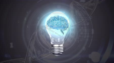 lobe : Digital composite of a brain inside a light bulb and a DNA helix. Binary codes are flying in the foreground
