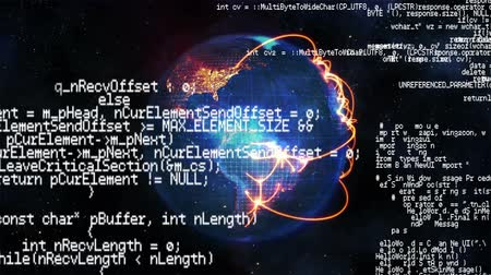планеты : Digital composite of a rotating globe and interface codes running in the foreground