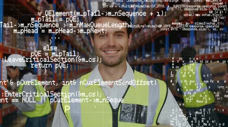 курьер : Digital composite of a male Caucasian warehouse worker and program codes running in the foreground. Behind him are two other workers checking on packages