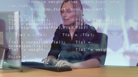 etkileşim : Digital composite of Caucasian female call centre agent typing on computer. Interface codes can be seen in foreground