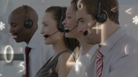 operators : Digital composite of male and female call centre agents working. Numbers and symbols can be seen moving in the foreground Stock Footage