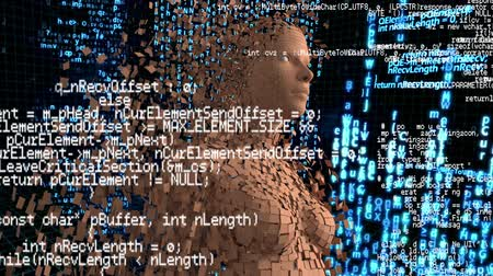 shattering : Digital animation of a woman with shattering skin and program codes running in the foreground