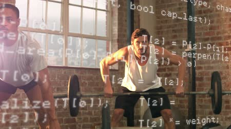 súlyzó : Digital composite of African-american and Caucasian men lifting weights at a gym. Interface codes are seen in the foreground