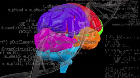 madde : Digital composite of multicoloured brain and a DNA helix with program codes on a black background Stok Video