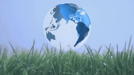 planety : Digital animation of rotating globe above grass field