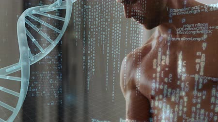 construção muscular : Digital composite of a man lifting dumbbells and DNA helix with program codes