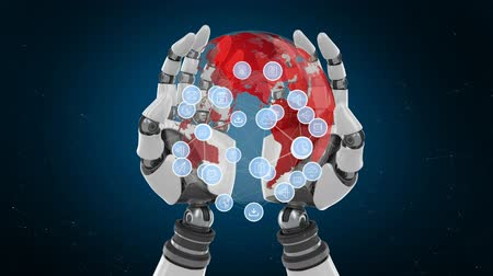 expanding : Digital composite of a pair of robotic hands holding a globe with circle application icons expanding against a dark background.