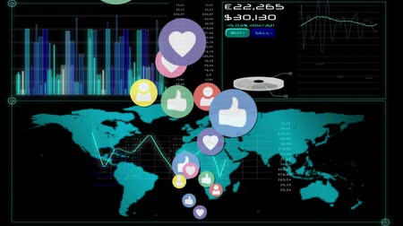 interativo : Digital animation of social media icons moving upwards with background of the world map, bar graphs, and data.