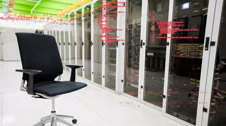 a böngésző : Digitally generated animation of red digital codes moving across the screen with background of a hallway of server towers with an empty swivel office chair.