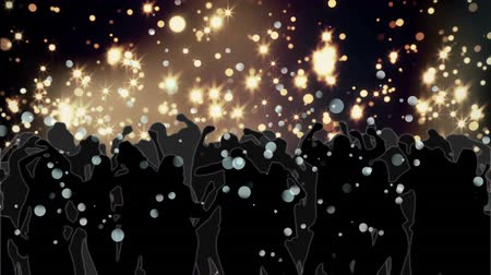 ünnepség : Digitally generated animation of a crowd partying with background glowing bokeh lights.
