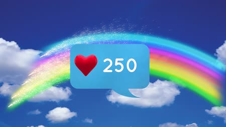 navegador : Digitally generated animation of a message bubble icon with heart and increasing numbers while background shows a view of the sky with a rainbow and clouds
