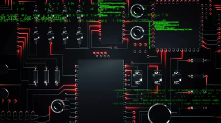 shluk : Digitally generated animation of a circuit with program codes moving in the screen