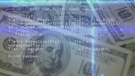 command : Digitally generated animation of program codes while background shows hundred dollar bills.
