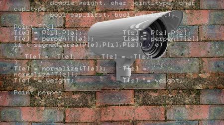 csatolt : Digitally generated animation of a surveillance camera moving attached on a brick wall while program codes move in the foreground.