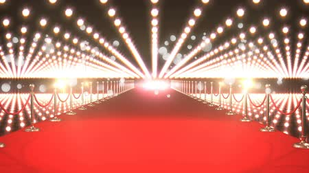 fame : Digitally generated animation of lights flashing in a VIP event with red carpet and bokeh lights moving in the screen.