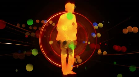 сосредоточиться на переднем плане : Digitally generated animation of a silhouette of a man wearing a hat dancing while bokeh lights move in the foreground and circles in the background. Стоковые видеозаписи