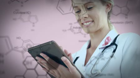 compresse : Digital composite of a female Caucasian doctor using a tablet while chemical structures appear in the foreground.