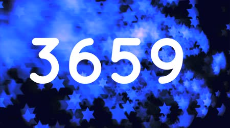 keresztül : Digital animation of numbers counting to 10000 while background shows blue starts moving across the screen