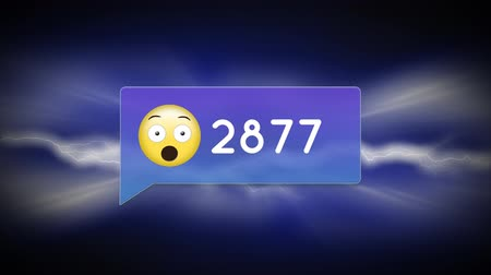 inbox : Digital animation of a surprised emoji in a message bubble icon with increasing numbers and background of quick moving thunders Stock Footage
