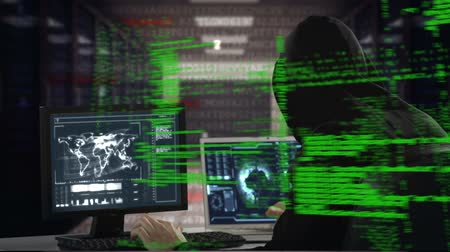 navegador : Digital composite of Caucasian male hacker hacking into a computer with program codes moving in the screen.