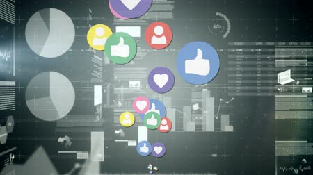 connectivity : Digital animation of social media icons moving in the screen while background shows different graphs and social media timeline Stock Footage