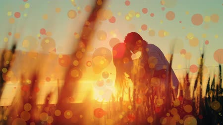 fondness : Digital composite of a couple kissing in the sunset while bokeh lights move in the screen